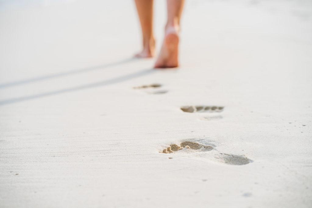 Walking barefoot in sand